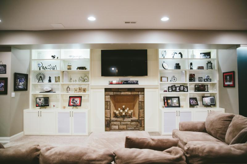 Tv Over Fireplace In Bat