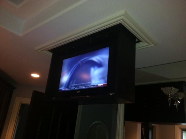 Custom video kole digital for Motorized ceiling drop down tv mount