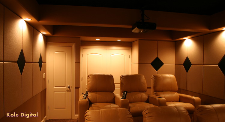 Patterned Acoustic Panels In A Home Theater