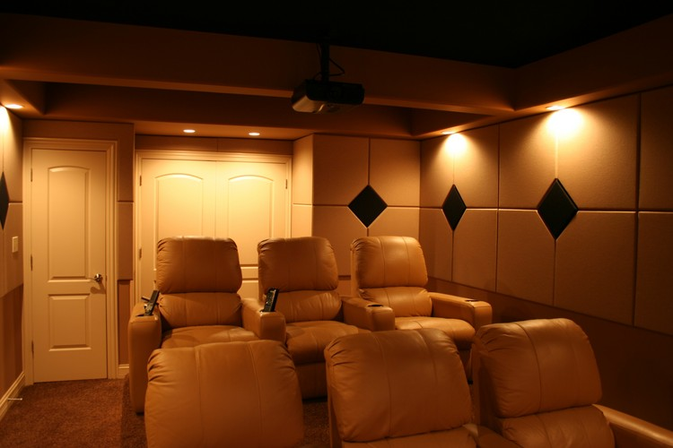 Home Theater With Custom Acoustic Panels.