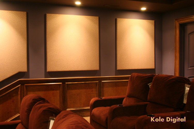 home theater acoustic wall panels. custom acoustic panels in home theater wall
