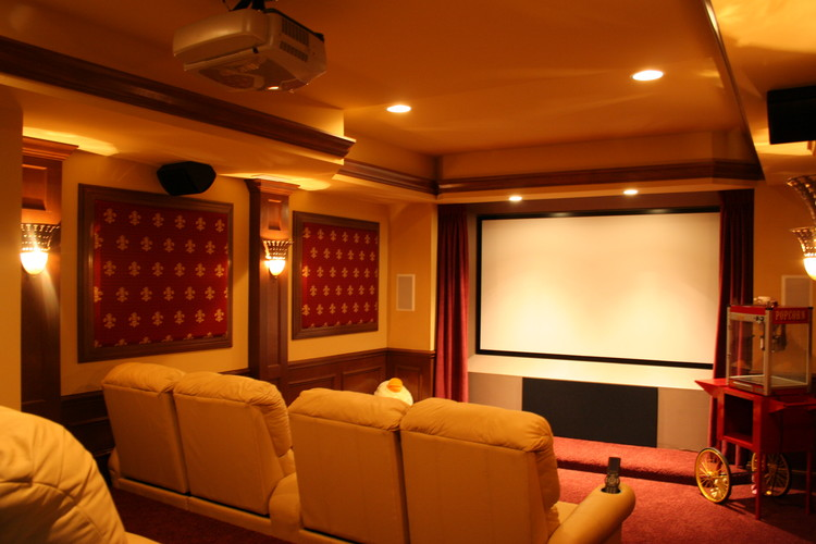 Home Theater With Acoustic Wall Panels.