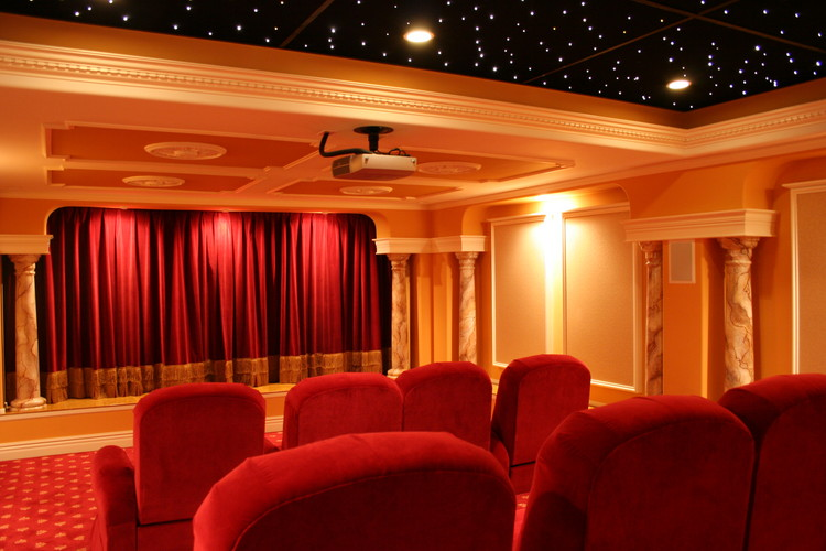 Traditional Home Theater With Drapery And Ceiling Star Lighting.
