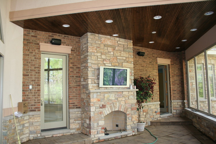 Over fireplace tv installation in frankfort chicago - Outdoor fireplace with tv ...