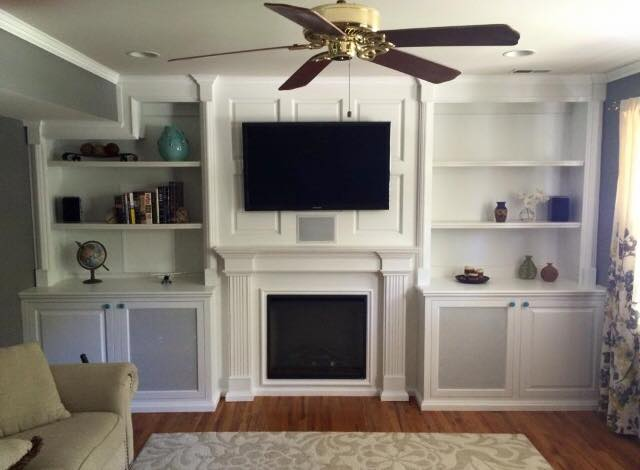 White Custom Cabinetry In Media Room